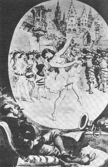 «Театр через телефоноскоп». Карикатура из фонда Театрального музея