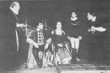 С. Юрский (Клавдий) — второй слева. «Гамлет» У. Шекспира. Ленинградский театральный институт. Класс Л. Ф. Макарьева. 1958