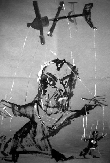 Морис Бежар. Рисунок  Резо Габриадзе. Фото из архива М.Дмитревской