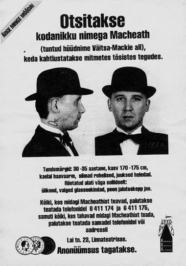 Листовка о розыске Мекки-Ножа.