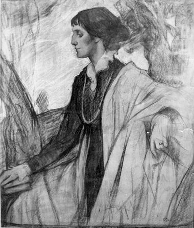О.Делла-Вос-Кардовская. А.Ахматова, 1914 г.. Пастель. Из частного собрания