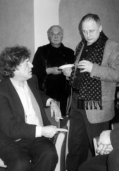 Т.Стоппард, Л.Неведомский, А.Толубеев навстрече Т.Стоппарда сактерами БДТ. Фото М. Дмитревской
