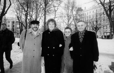 Е.Гомберг, Т. Стоппард, Е.Невежина, Э. Цеховал. Фото М. Дмитревской