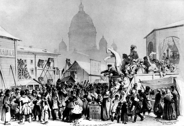 Балаганное представление наИсаакиевской площади Санкт-Петербурга. Рисунок Тимме 1858г.