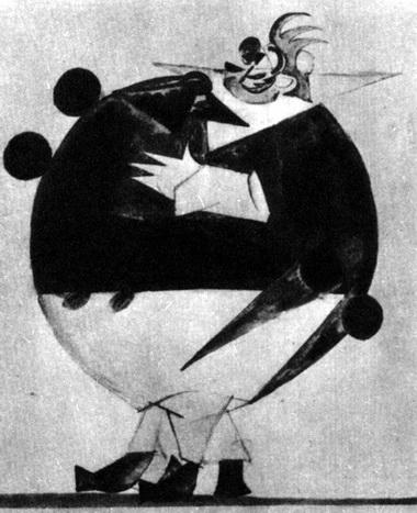 Эскиз костюма Яичницы кспектаклю «Женитьба» (Студия Театра Комической оперы, 1920–1921 гг.)