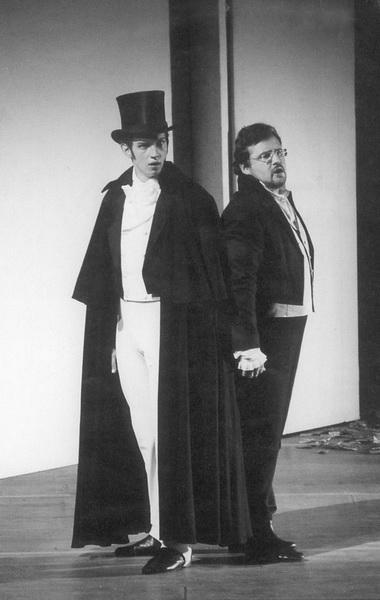 В. Мороз (Онегин), Е. Акимов (Ленский). Фото Н. Разиной из газеты «Мариинский театр»