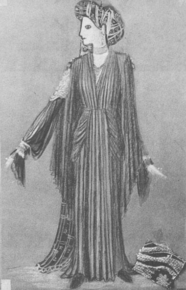 Эскиз костюма «Федры» дляМ.Игнатовой («Федра»,БДТим.Г.Товстоногова)