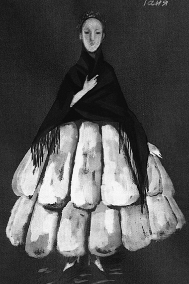 ЭскизкостюмаТани (автор—Н.Гультяева). Фотоизбуклета кспектаклю