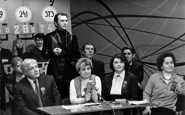 Телепередача «Турнир СК». В центре — А. А. Пурцеладзе. Фото из архива редакции