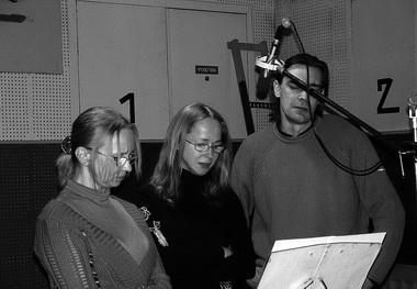 И. Мазуркевич (Цира), А. Неволина (Рамона), И. Латышев (Беглар) на записи фонограммы спектакля. Фото М. Дмитревской
