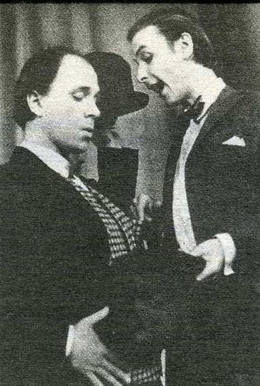 С. Лосев и А. Романцов в спектакле Учебного театра «Грустя, и плача, и смеясь» 1974 г. Фото из архива Петербургской Академии театрального искусства