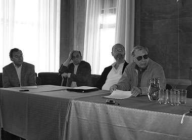 Проблема композиции. Л. Закс, Ю. Барбой, Ю. Хариков, Ю. Невский. Фото М. Дмитревской