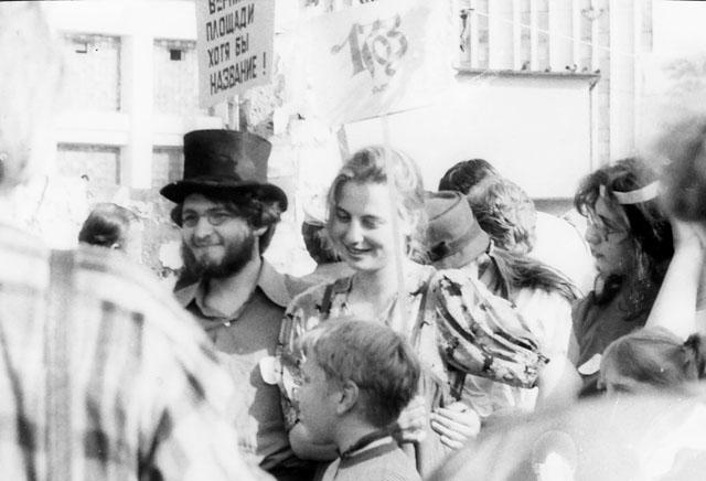 Л. Попов на демонстрации по спасению исторического центра Петербурга. 1990-е. Фото из архива Л. Поповой