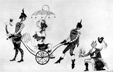 Н. Иванова. Эскиз декорации к спектаклю «Кот в сапогах». 1938 г.