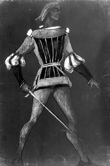 Н. Иванова. Эскиз костюма Тибальда («Ромео и Джульетта». 1948 г.)