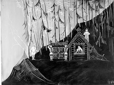 Н. Иванова. Эскиз декораций к «Сказке о рыбаке и рыбке» («Сказки Пушкина». 1962 г.)