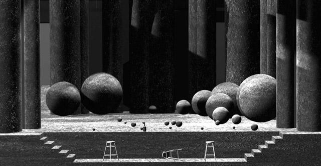 Эскиз кспектаклю «Виндзорские насмешницы». Театр Комедии им. Н.Акимова