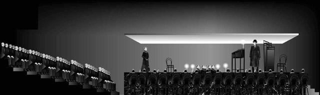 Эскиз кспектаклю «Кроткая».  Театр «Глобус» (Новосибирск)