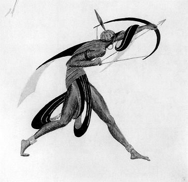 Эскиз костюма кнеосуществленной постановке балета «Наль иДамаянти». Стрелок излука.1916