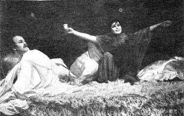 Г.Субботина (Актриса) иЕ.Филатов (Поэт).  «Карусель пог-ну Фрейду». Открытый театр. Фото В. Васильева